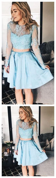 Long Sleeve Blue Homecoming Dresses,Two Piece Short Dress ,Cheap Homecoming Dress,Short Graduation Dress,B0383