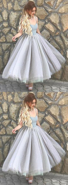 Simple A-Line Spaghetti Straps Gray Tulle Prom Dress,Cheap Homecoming Dress,Short Graduation Dress,B0384