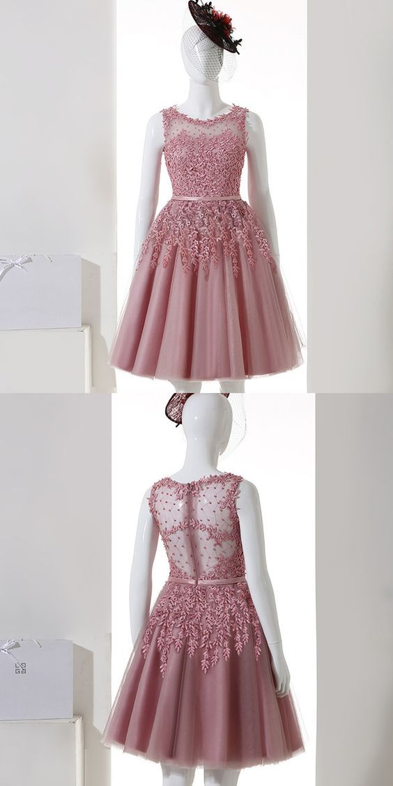 Short A-Line Tulle Homecoming Dress,Lace Evening Dress,Homecoming Dress,B0386