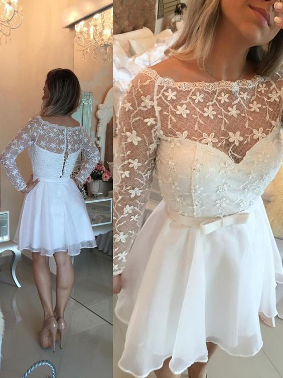 Awesome Bateau Long Sleeves Short White Organza Homecoming Dress with Bowknot Lace,B0395