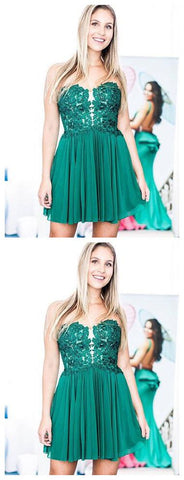 2019 A-line Green Short Prom Dress Sweetheart Lace Short Prom Dress Homecoming Dress,B0406
