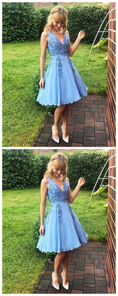 Simple Blue V-Neck Lace Homecoming Dress,Chic Sexy Homecoming Dress,Cheap Homecoming Dress,B0409