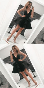 Deep V-Neck Black Satin Short Homecoming Dresses, Simple Tiered Hoco Dresses Freshman, Short Prom Party Dresses ,B0418
