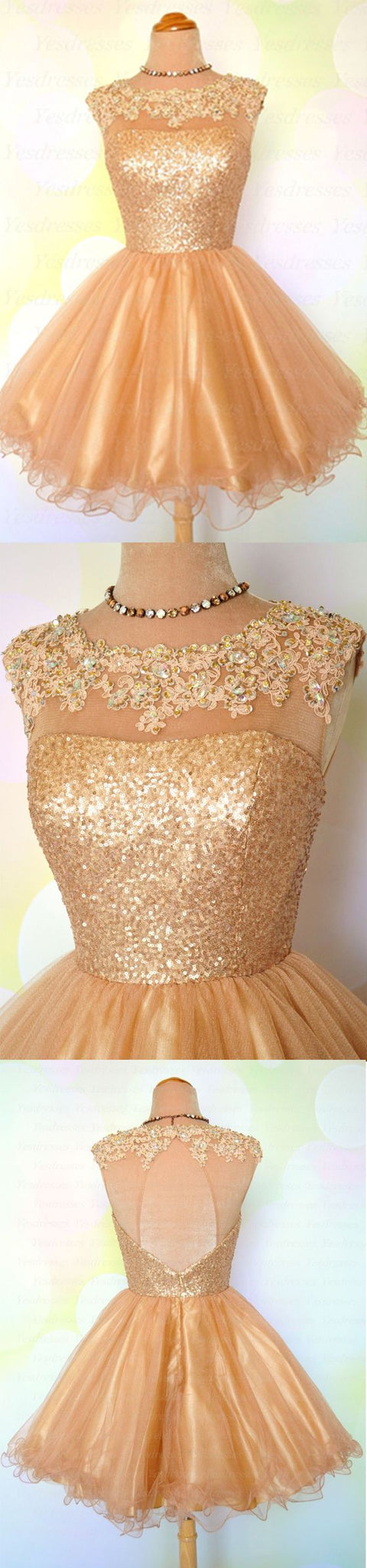Gold Homecoming Dress, Sequin Homecoming Dress, Open Back Homecoming Dress, Scoop Neck Homecoming Dress, Cheap Homecoming Dress,B0422