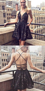 Black Lace Homecoming Dresses, Sexy Lace Up Homecoming Dresses, Cheap Homecoming Dresses,B0429