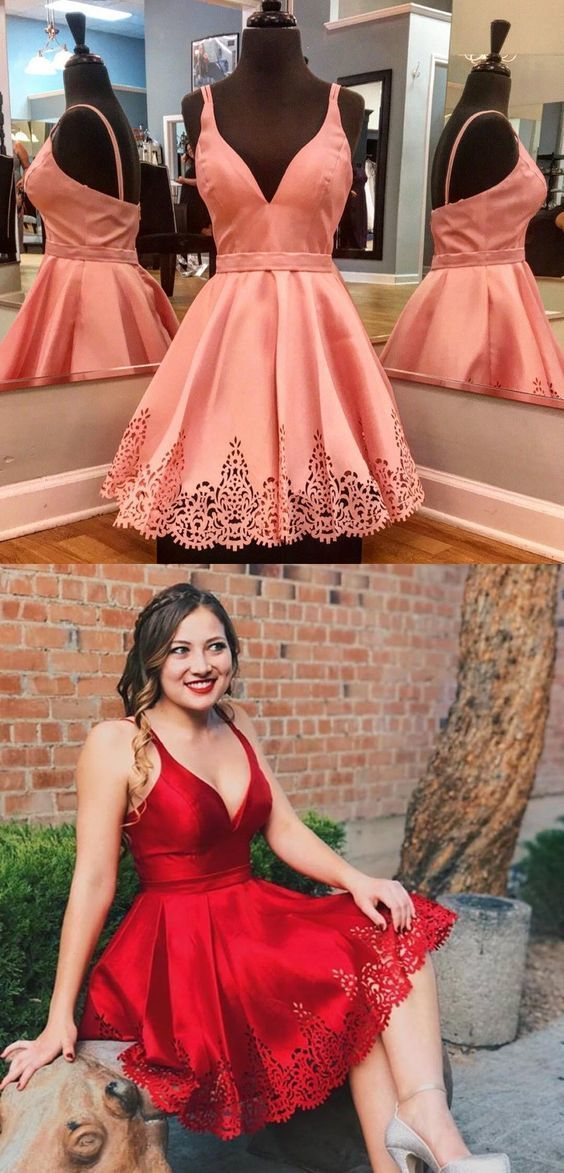 A-Line V-Neck Pleated Short Red Satin Homecoming Dress,B0434