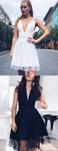 Charming A Line V Neck Sleeveless Black/White Short Homecoming Dress With Beading,B0435