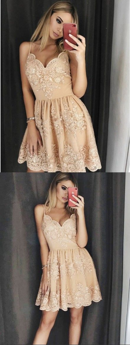 A-Line Spaghetti Straps Above-Knee Champagne Homecoming Dress with Appliques,B0439