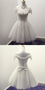 A-Line Round Neck Short ivory Tulle Homecoming Dress with Appliques,B0443