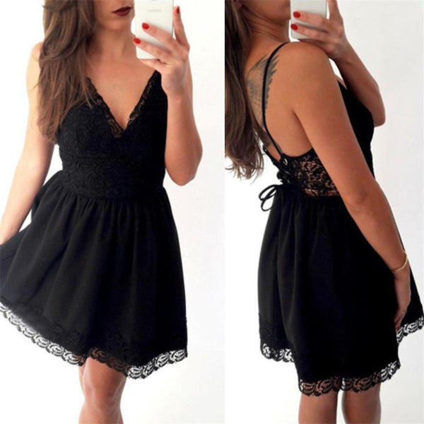 Charming black Lace up Spaghetti Strap lace short prom dresses, cheap homecoming dresses,B0458