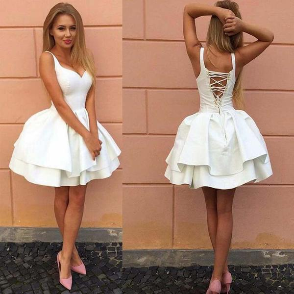 Fashion Ball Gown V-Neck Crisscross Back White Short Homecoming Dresses, Freshman Homecoming Dresses,B0461