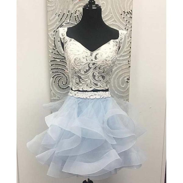 Elegant Two Piece Lace Top Cap Sleeve Short Layered Tulle Homecoming Dresses, Homecoming Dresses,B0464