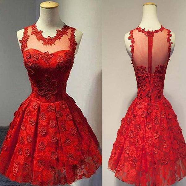 Red Illusion See Through Tull Short Homecoming Dresses With Lace Appliques, Charming Homecoming Dresses,B0466