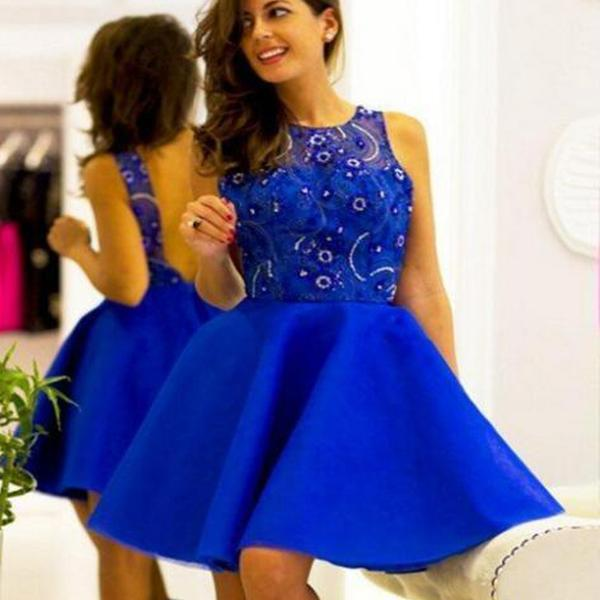 Shinny Royal Blue Scoop Neckline Top Beaded V-Back A-Line Short Homecoming Dresses, Charming Homecoming Prom Dresses,B0469