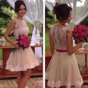 Simple Scoop Neckline Sleeveless Covered Button Short Homecoming Dresses With Lace, Homecoming Dresses With Sash,B0470