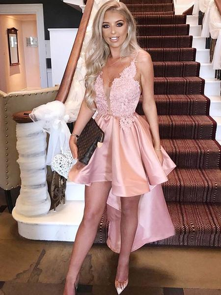 High Low Blush Pink Spaghetti Straps Cheap Short Homecoming Dresses Online,B0480