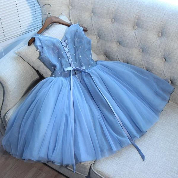 V Neck Grey Cheap Short Homecoming Dresses Online,B0482