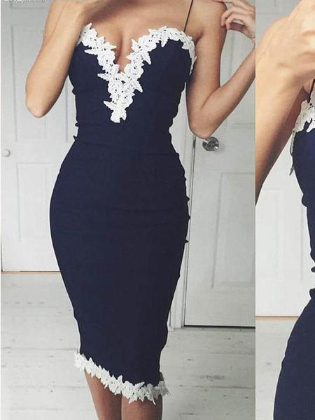 Spaghetti Straps Navy Tight Cheap Short Homecoming Dresses Online,B0486