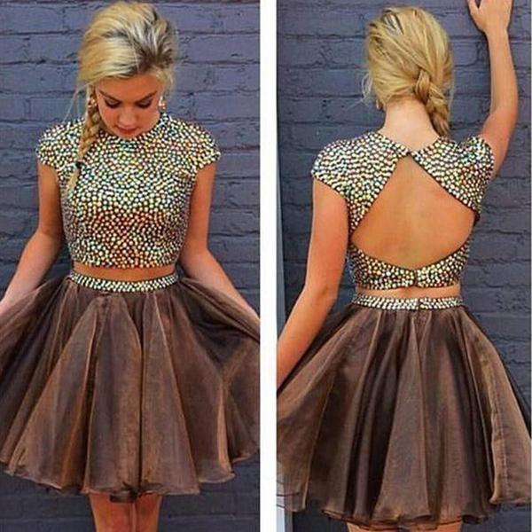 Brown Two Pieces Cap Sleeve Beaded Short Cheap Homecoming Dresses Online,B0490