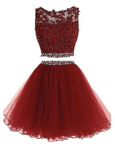 Sexy Two Pieces Burgundy Lace Beaded Short Homecoming Dresses ,B0492