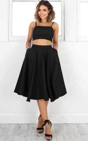 Simple Two Pieces Black Short Homecoming Dresses,B0500