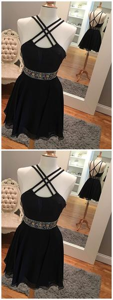 Sexy Backless Short Rhinestone Black Homecoming Dresses 2019,B0503