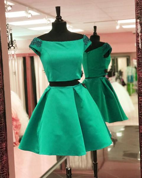 Simple Cute Two Piece Cap Sleeve Blue Homecoming Dresses,B0504
