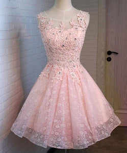 Pink Open Back Lace Beaded Cute Homecoming Prom Dresses, Affordable Short Party Prom Dresses, Perfect Homecoming Dresses,B0511