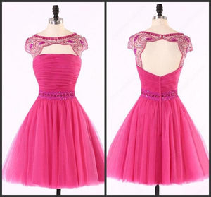 Sexy Open Back Hot Pink Beaded Cute homecoming prom dresses,B0521