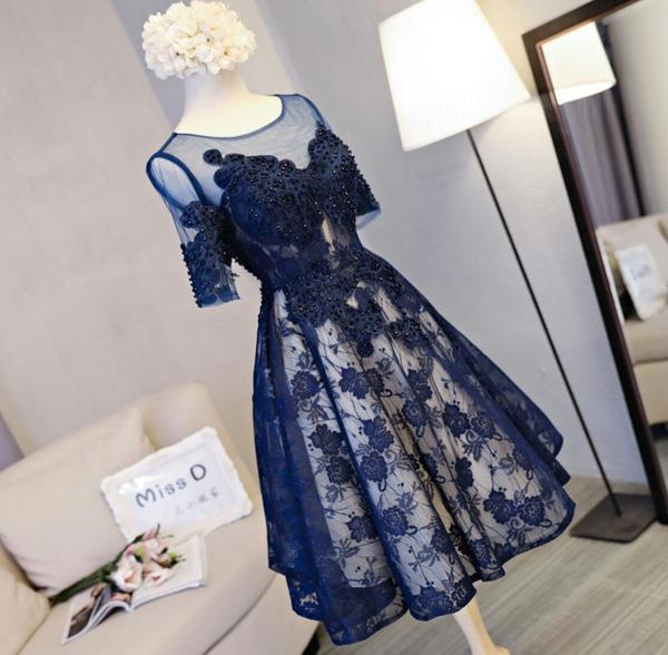 Short Sleeve Navy Lace Open Back Homecoming Prom Dresses, Affordable Short Party Prom Dresses, Perfect Homecoming Dresses,B0529