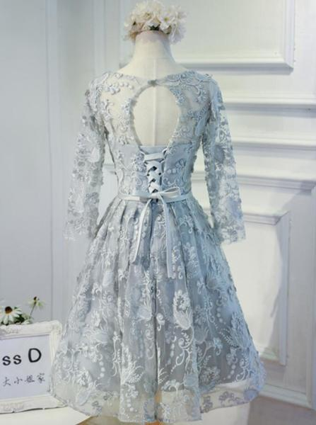 Long Sleeve Grey Lace Modest Homecoming Prom Dresses, Affordable Short Party Prom Dresses, Perfect Homecoming Dresses,B0531