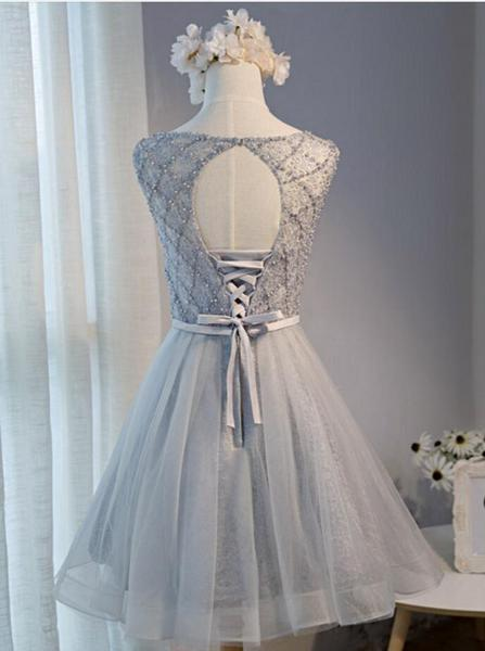 Sexy Open Back Grey Lace Beaded Homecoming Prom Dresses, Affordable Short Party Prom Dresses, Perfect Homecoming Dresses,B0538