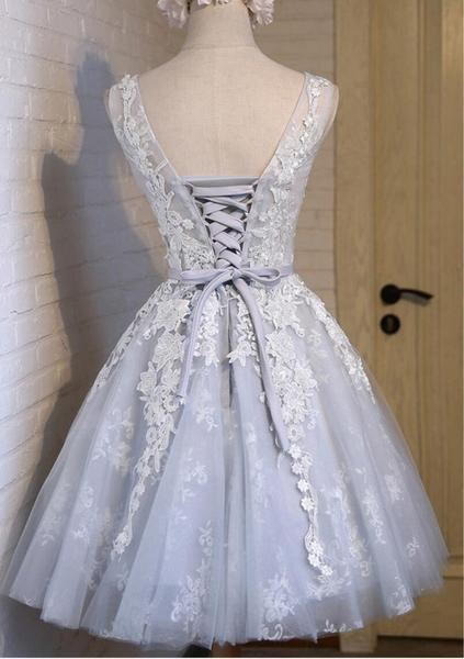 See Through Grey Lace Homecoming Prom Dresses, Affordable Short Party Prom Dresses, Perfect Homecoming Dresses,B0539