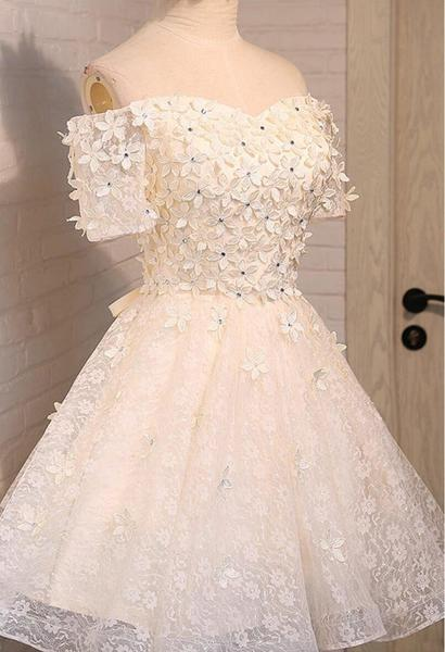 Off Shoulder Lace Beaded Homecoming Prom Dresses, Affordable Short Party Prom Dresses, Perfect Homecoming Dresses,B0545