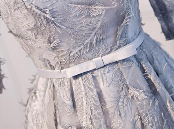 Long Sleeve Gray Lace Scoop Neckline Homecoming Prom Dresses, Affordable Short Party Prom Dresses, Perfect Homecoming Dresses,B0549