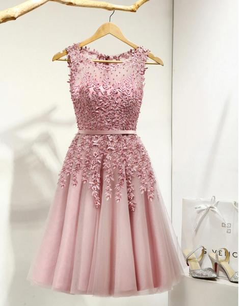 Dusty Pink Lace Beaded See Through Homecoming Prom Dresses, Affordable Short Party Prom Dresses, Perfect Homecoming Dresses,B0555