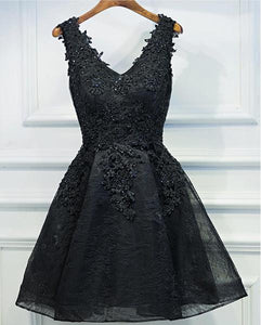 Two Straps Black Lace Heavily Beaded Homecoming Prom Dresses, Affordable Short Party Prom Dresses, Perfect Homecoming Dresses,B0557