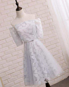 Short Sleeve Gray Leaf Lace Cute Homecoming Prom Dresses, Affordable Short Party Prom Sweet 16 Dresses, Perfect Homecoming Cocktail Dresses,B0570