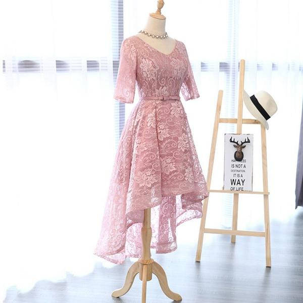 Long Sleeve Lace High Low Pink Homecoming Prom Dresses, Affordable Short Party Prom Sweet 16 Dresses, Perfect Homecoming Cocktail Dresses,B0575