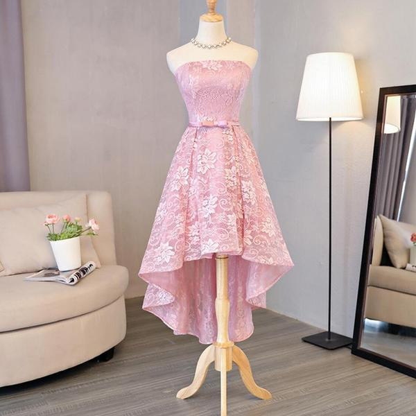 Strapless Lace High Low Pink Homecoming Prom Dresses, Affordable Short Party Prom Sweet 16 Dresses, Perfect Homecoming Cocktail Dresses,B0576