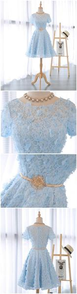 Short Sleeve Scoop Neckline Lace See Through Homecoming Prom Dresses, Affordable Short Party Prom Sweet 16 Dresses, Perfect Homecoming Cocktail Dresses,B0577