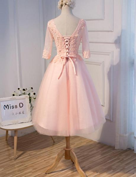 Long Sleeve Light Peach Open Back See Through Lace Cute Homecoming Prom Dresses, Affordable Short Party Prom Dresses, Perfect Homecoming Dresses,B0581