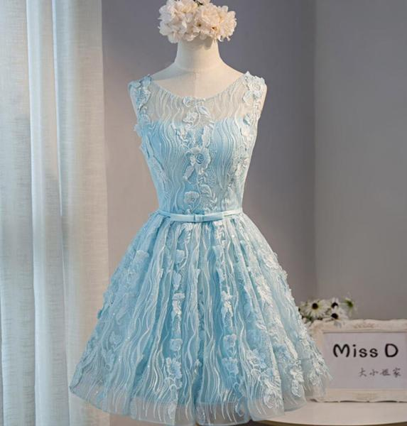 Tiffany Blue Open back Lace Cute Homecoming Prom Dresses, Affordable Short Party Prom Dresses, Perfect Homecoming Dresses,B0582