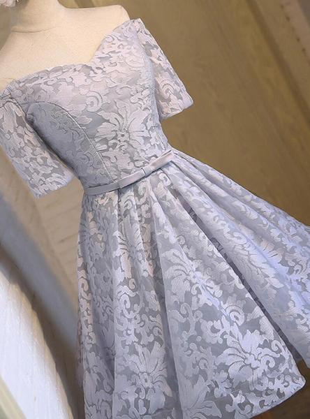 Off Shoulder Short Sleeve Gray Lace Cute Homecoming Prom Dresses, Affordable Short Party Prom Dresses, Perfect Homecoming Dresses,B0584