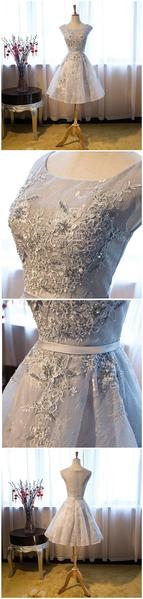 Gray Lace Sexy See Through Homecoming Prom Dresses, Affordable Short Party Prom Sweet 16 Dresses, Perfect Homecoming Cocktail Dresses,B0586