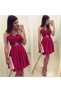 Sexy, Red, Lace, Short dresses, homecoming dresses, B0590