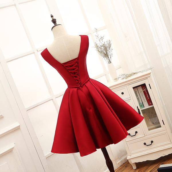 Adorable Red Satin Homecoming Dress 2019, Short Party Dress 2019,B0607