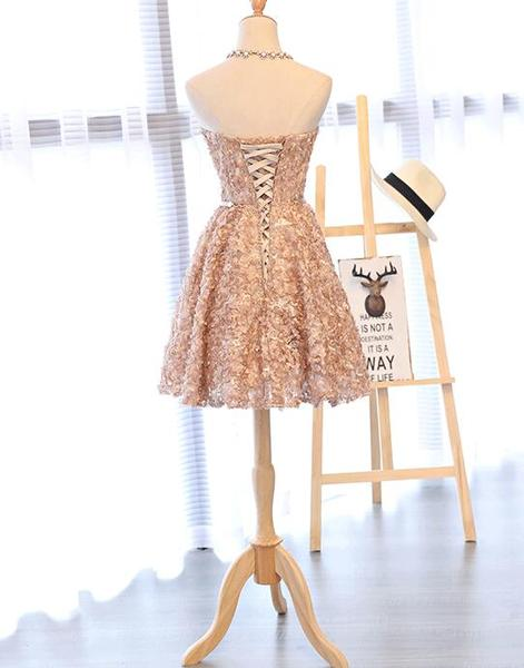 Lovely Champagne Knee Length Party Dress 2019, Lace Floral Homecoming Dress,B0610