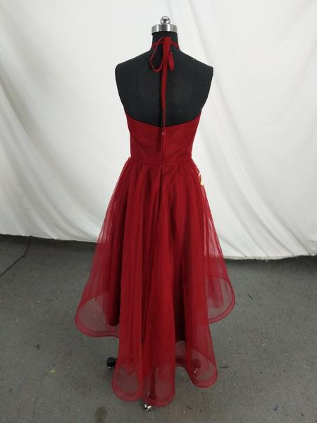 Wine Red Halter High Low Tulle Formal Dress With Gold Lace, Handmade Formal Dress,B0613