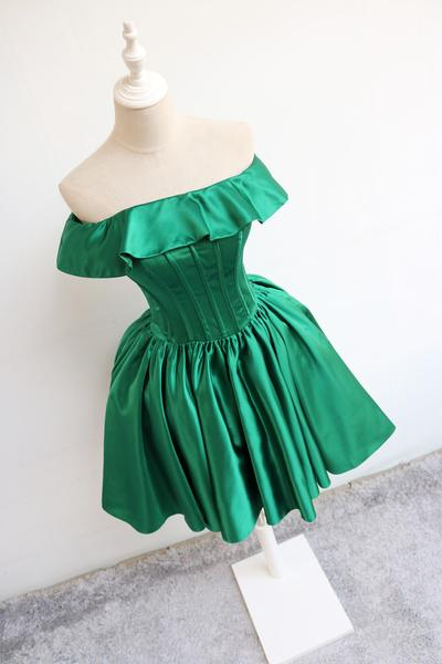 Dark Green Off Shoulder Satin Wedding Party Dress, Beautiful Homecoming Dress 2019,B0614